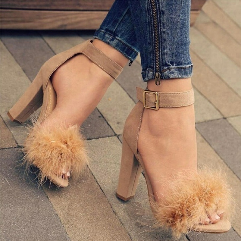 B22419A Ladies Hot sale High-end Fluffy buckle Heel high-heeled <strong>sandals</strong>