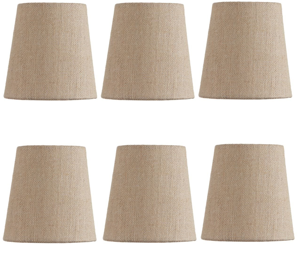 Mini Chandelier Shades Clip On Small Lamp shade Set Of Six Beige linen