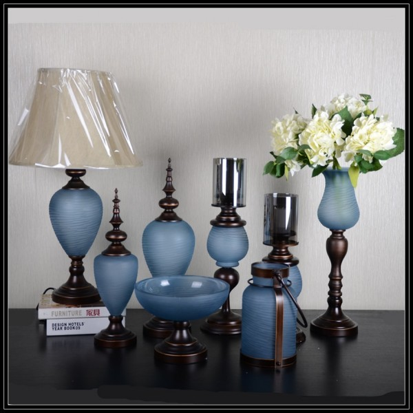 Blue Color Flower Glass And Iron Vase With Metal Stand For Home