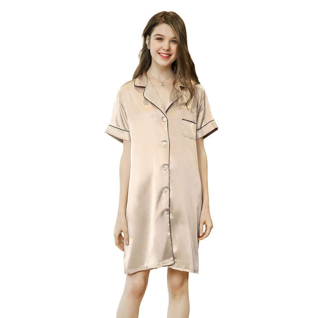 Get Quotations · Slocyclub Soft Silk Pajamas Sexy One-Piece Nighty for Women b0a4dfb95