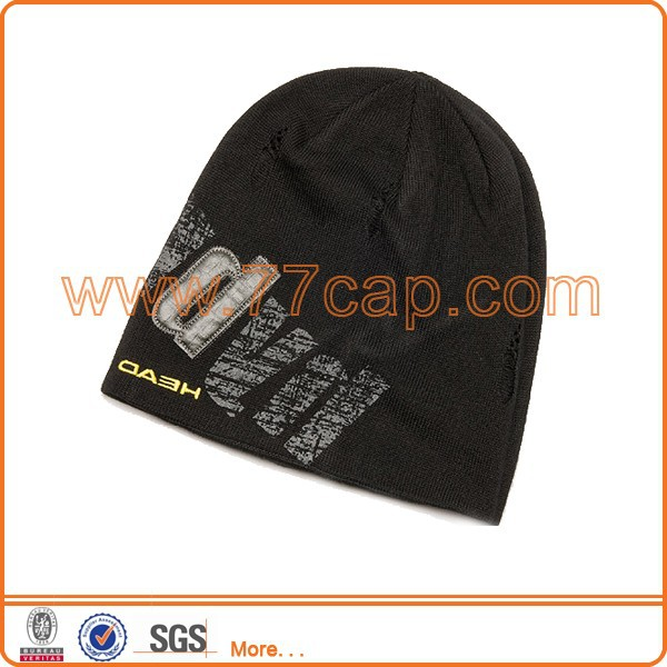 Custom design printed beanie running knit hat
