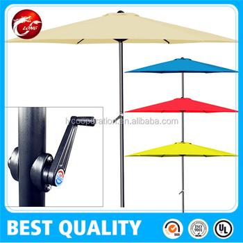 8 Ft Patio Umbrella Aluminum Crank Tilt Deck Sunshade Cover Outdoor Yard Beach