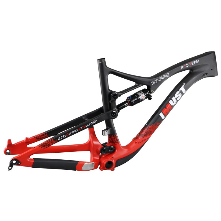 IMUST new design stable Carbon Bike MTB Suspension 27.5er all mountain Frame Red Color painting with IMUST brand Logo