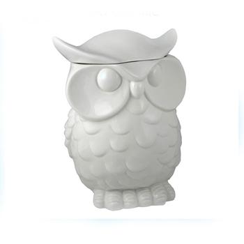 Owl Shaped Plain White Ceramic Cookie Jar Product On