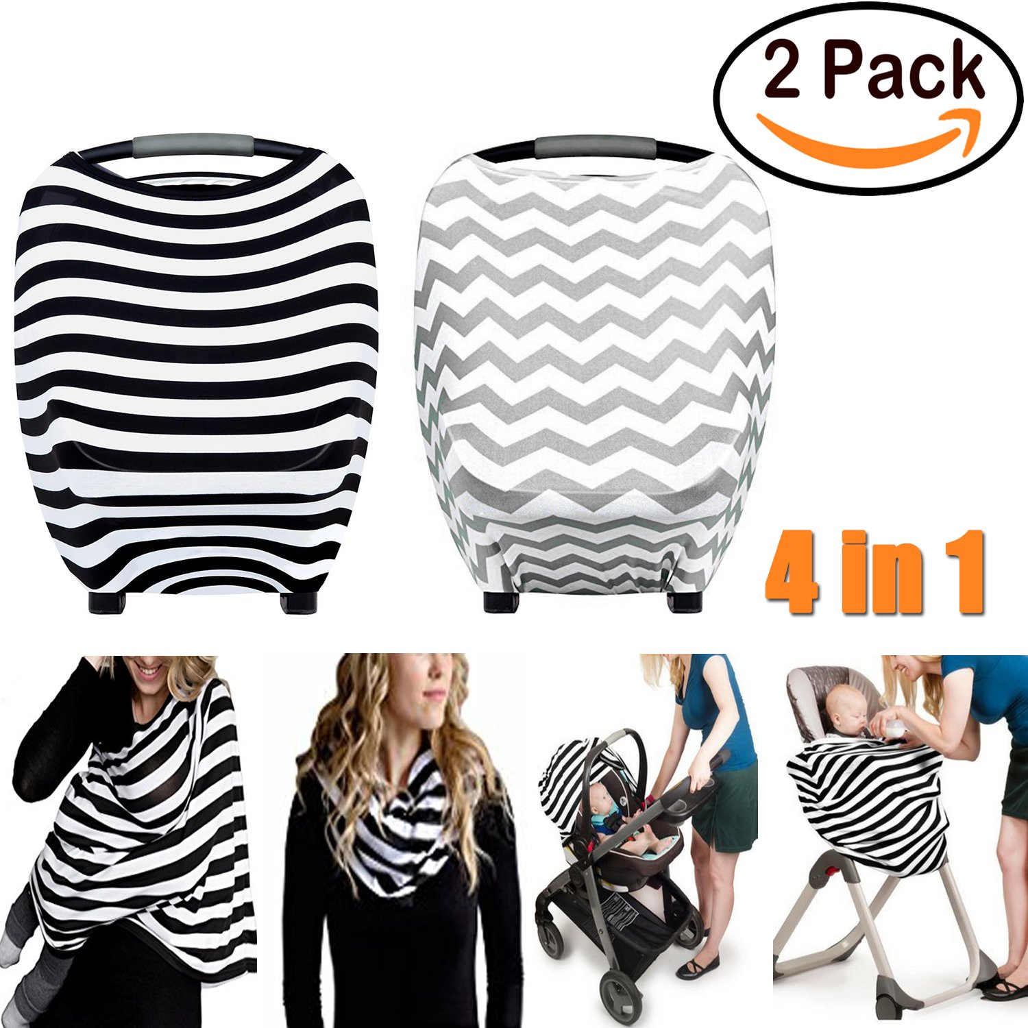 2 Pack Stretchy Multi Use Car Seat Canopy Shopping Nursing Breastfeeding Cover