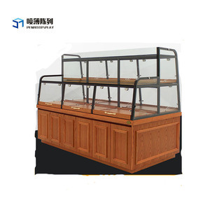 Hot sale glasses wooden bakery display showcase for bakery
