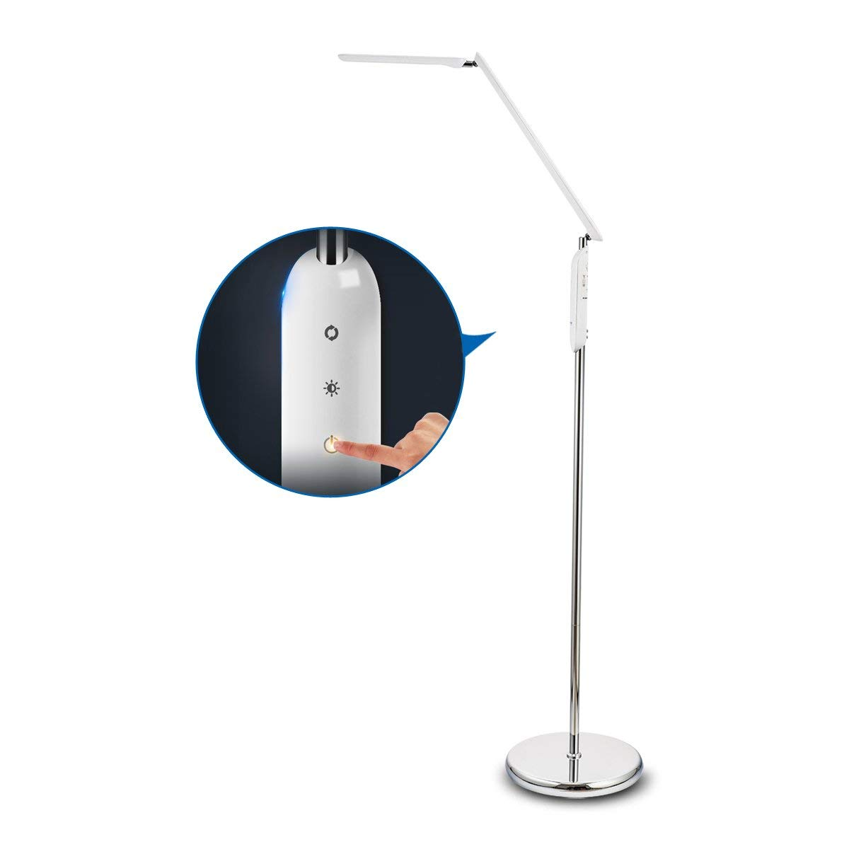 Dimmable LED Floor Lamp, Modern Touch-Sensitive Switch Standing Light, Eye-Care LED Reading Light, Stable and Anti Metal Base, 360 Degree Rotatable Shades for Living Room, Bedroom Or Office