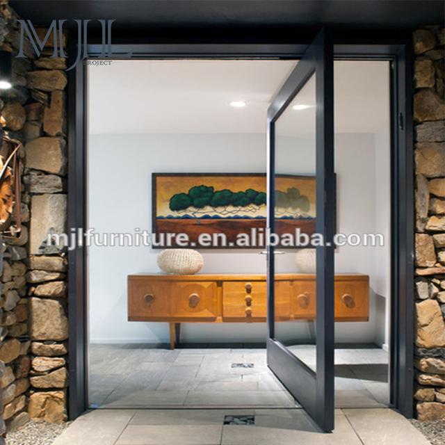 Latest Design Top Grade Residential Aluminum Alloy Entry Doors ,  Transparent Glass Pivot Door