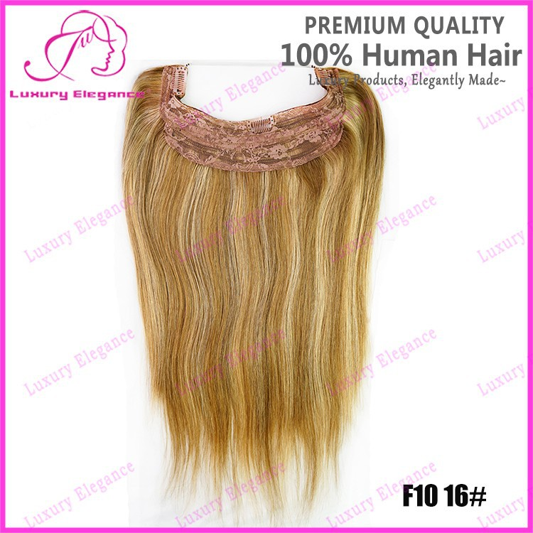 Blonde Brown Mixed Colour Hair Weave Clip In Halo Hair Extension For
