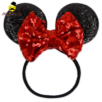 Latest Fashion Hair Accessories Red Black Bowknot Cat Ear Sequin Hair Band Kids Headband