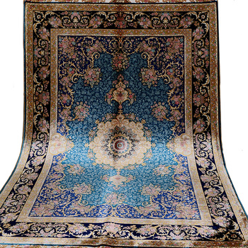 New design 4'x6' Blue Handmade Persian Silk Carpet Hand Knotted Area Rug