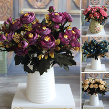 Hot Vivid 6 Branches Autumn Artificial Fake Peony Flower Posy Home Room Bridal Hydrangea Decor Real Touch
