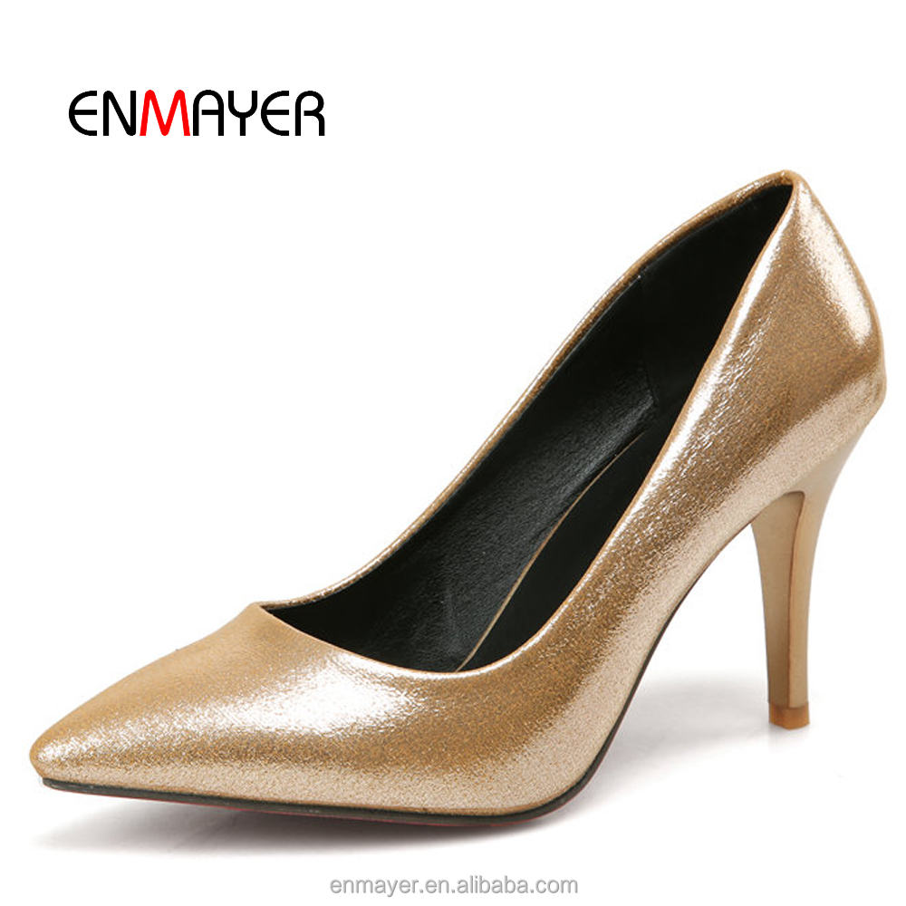 Classic comfortable 7CM gold women pumps high <strong>heel</strong>