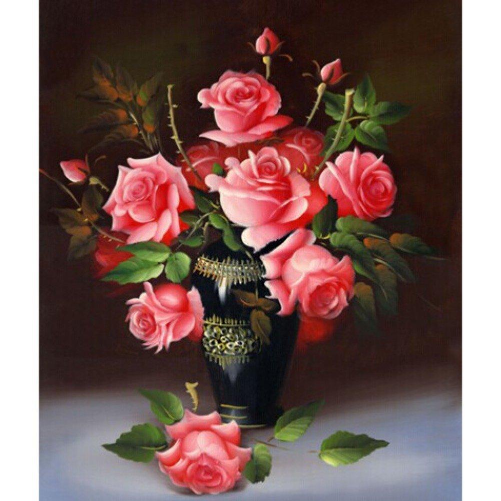 Fairylove 16×16 inch Diamond Painting Rose Paint with Diamonds Dotz Kit Cross Stitch Kits Drill Kit,Red Rose