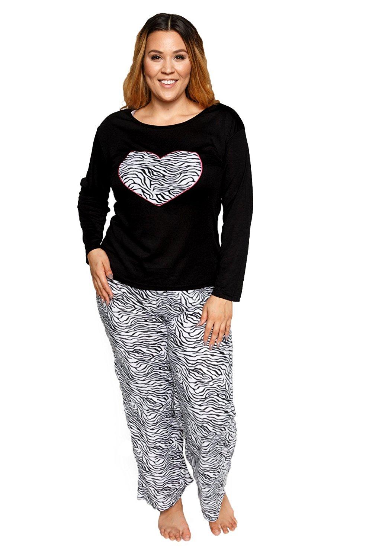 Get Quotations · Hadari Women s Plus Size Soft Plush Comfy Zebra Print  Nightwear Loungewear Pajama Pjs Set (2 0493ab60a
