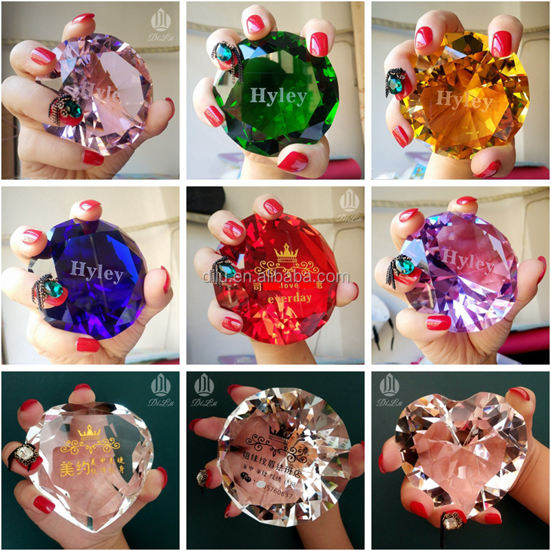 DL-ZS12 DIY Engraved large crystal diamond painting /Red K9 Crystal Glass Diamond Paperweight,Wholesale Clear Crystal Diamonds
