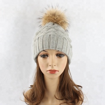 Pineapple wool winter hats removable big raccoon fur pom pom knitted beanies 0f952be3a8c