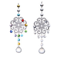 2 PCS Metal Christmas Snowflake Hanging Pendants Clear Glass Crystal Prism Ball Chandelier Part Suncatcher New Year Decoration