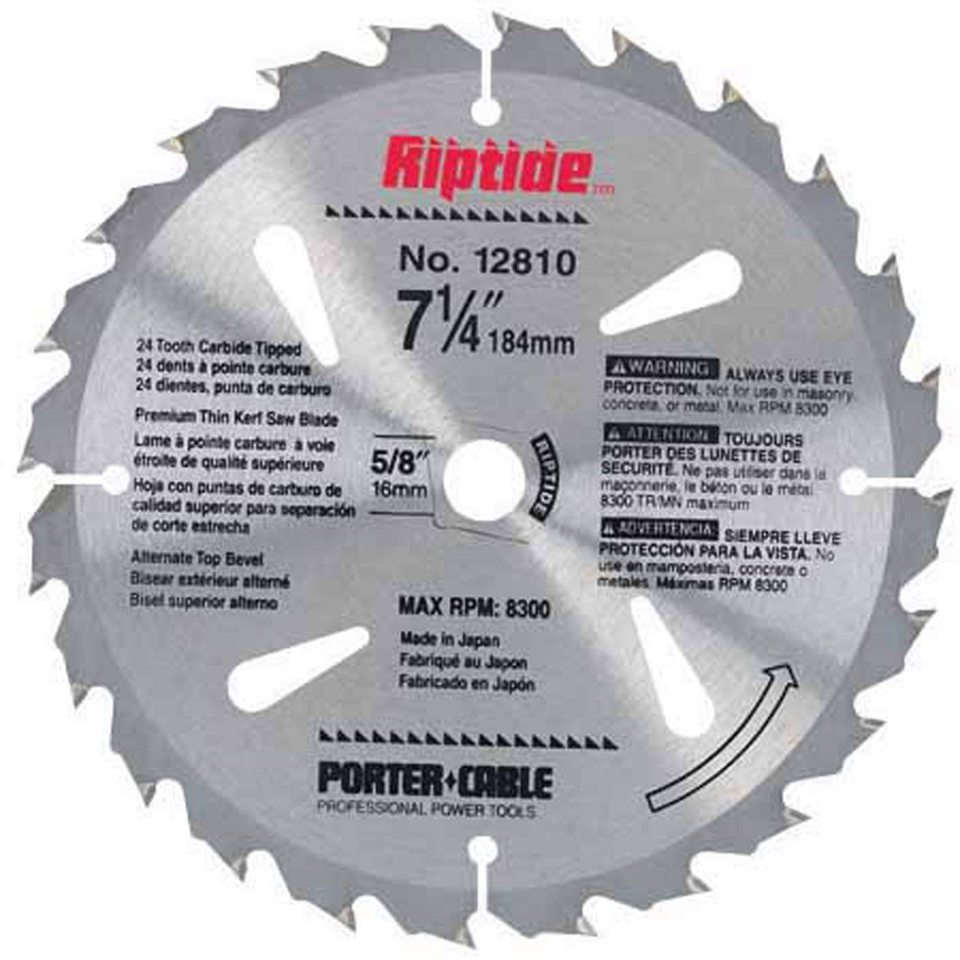 PORTER-CABLE 12810 Riptide 7-1/4-Inch 24 Tooth ATB Thin Kerf Crosscutting and Ripping Saw Blade with 5/8-Inch and Diamond Knockout Arbor for Blade-Right Saws