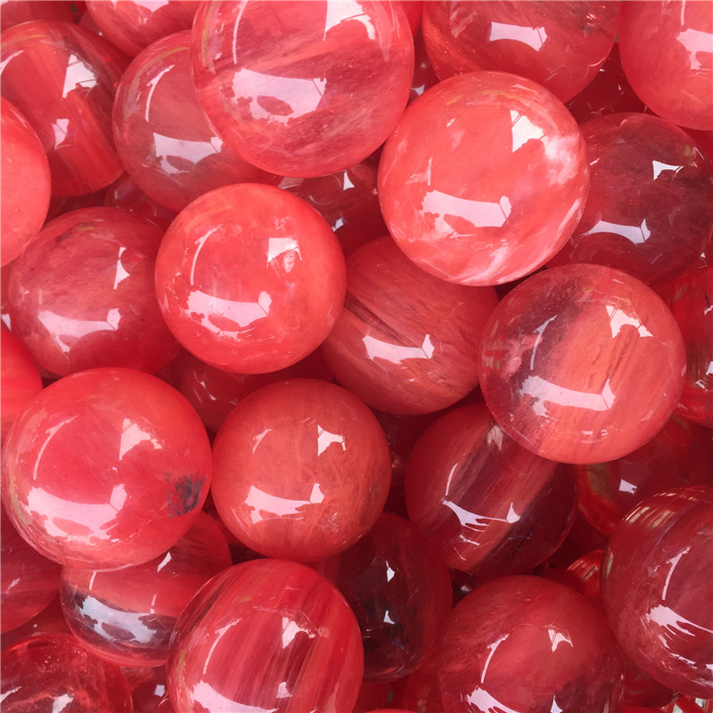 Wholesale fire natural red melting stone quartz crystal ball for decoration