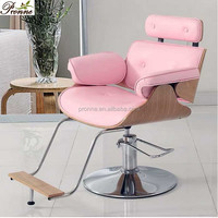 New style stainless steel wood painting hydraulic Pink hairdressing chair