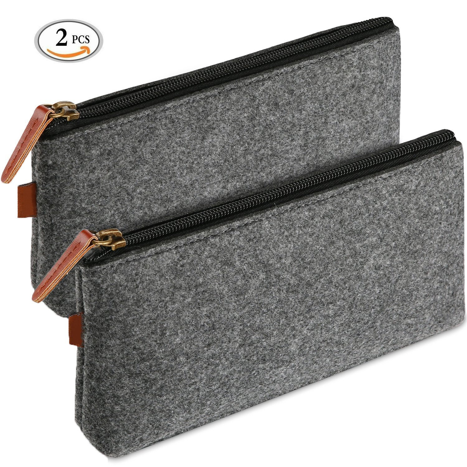 Zipper Makeup Bag Pamty Felt Pouch Cosmetic Bags Zipper Travel Bag Makeup Organizer Pencil Bag Pen Case For Travel, Toiletries,Cosmetics, Make Up,Cables,Gadgets,Pens, Pencils, Highlighters (2 Pack)