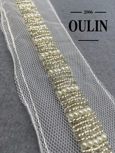 Beaded glass tube lace trim organza lace trim type mesh customized lace trims using on garments