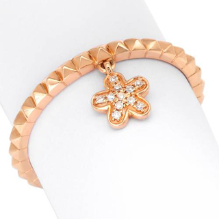 Elegant rose gold plated 925 silver star charm ring