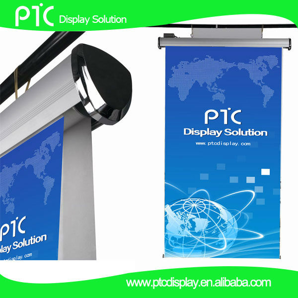 Hanging electric roll up banner