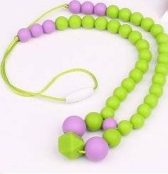 Silicone Baby or Toddler Purple Green Teething Necklace for Nursing Mom - Perfect for Sensory and Autism. Baltic Amber will stop the pain, this will keep them busy! Drooling babies will love gnawing on this jewelry that moms wear. Food Grade. Perfect for fine motor skills, sensory, autism.