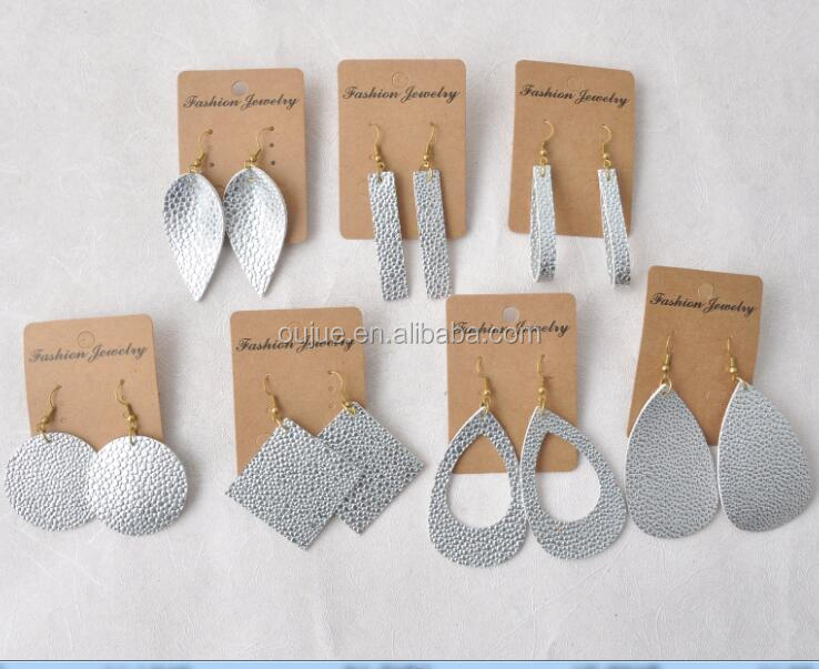 Silver Lightweight Silver Teardrop Leather Earrings 7 Shapes with 10 Colors