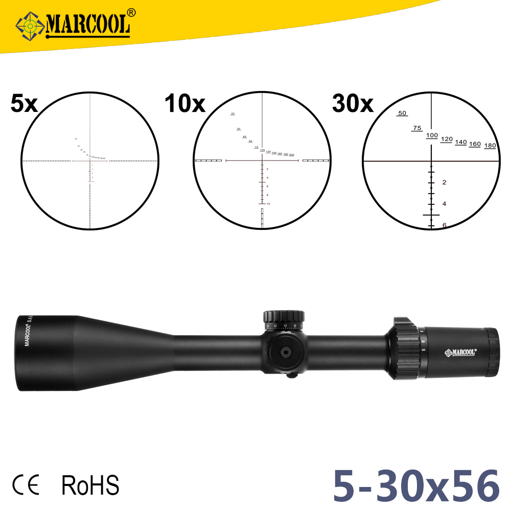 Marcool HD 5-30x56 long Eye Relif Rifle Scope, Long Range Rangefinder FFP Reticle Military Riflescope