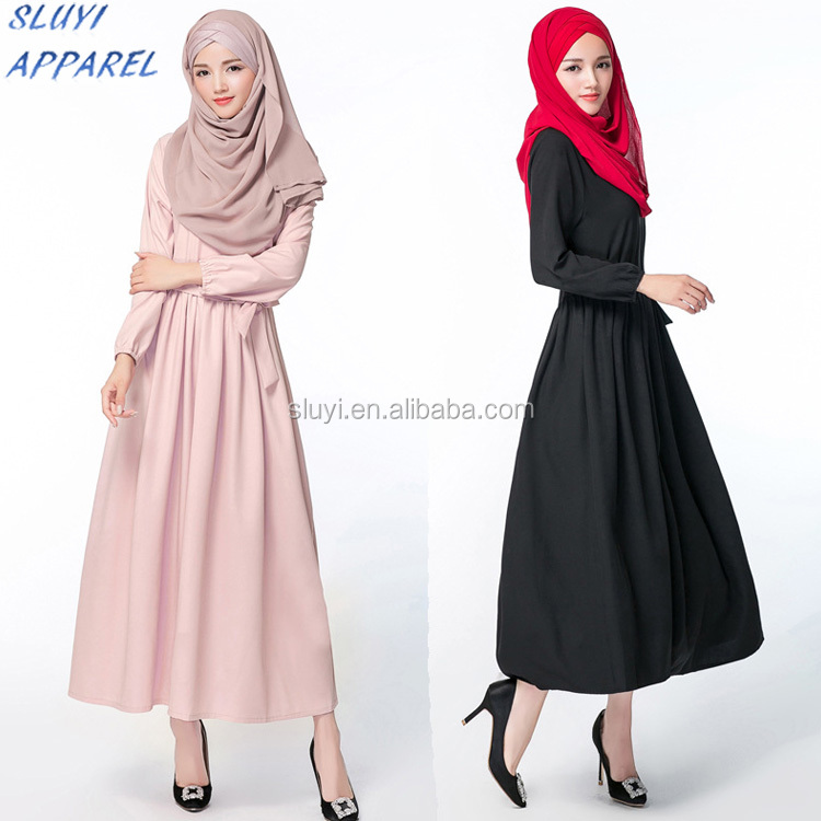 Latest simple design muslim ladies dress long sleeve top Muslimah Cloak Dresses wholesale dubai abaya islamic clothing