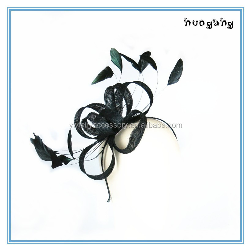 Custom dying black feather sinamay hair fascinator lady headpieces