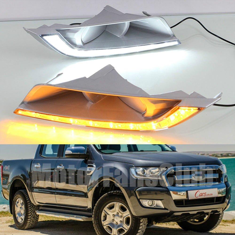 MotorFansClub Daytime Running Light Fog Lamp LED DRL with Turn Signal for Ford Ranger 2015-2017
