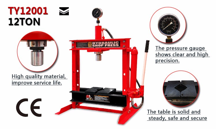 Tongrun 12Ton Hydrqulic Shop Press with Portable Hand Pump Bench Top H-type