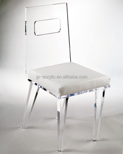 Wholesale clear ghost acrylic high back chair plexiglass lounge seat plexiglass furniture with soft cushion for wedding