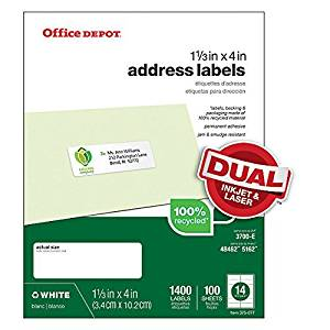 Office Depot Address Mailing Labels for Inkjet and Laser Printers, 1.33 x 4 inches, White, Box of 1400