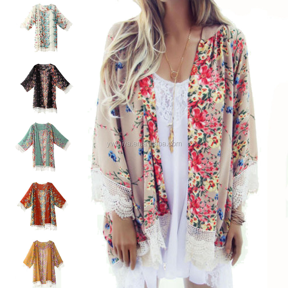 8c7d8d6642 MY-083 Latest Hot selling women floral cardigan with lace bottom ladies  vintage Shawl Kimono boho Cardigan wholesale