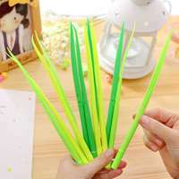 Custom Silicone Long Grass Green Leaf Pen Promotional Gel Ink Pen