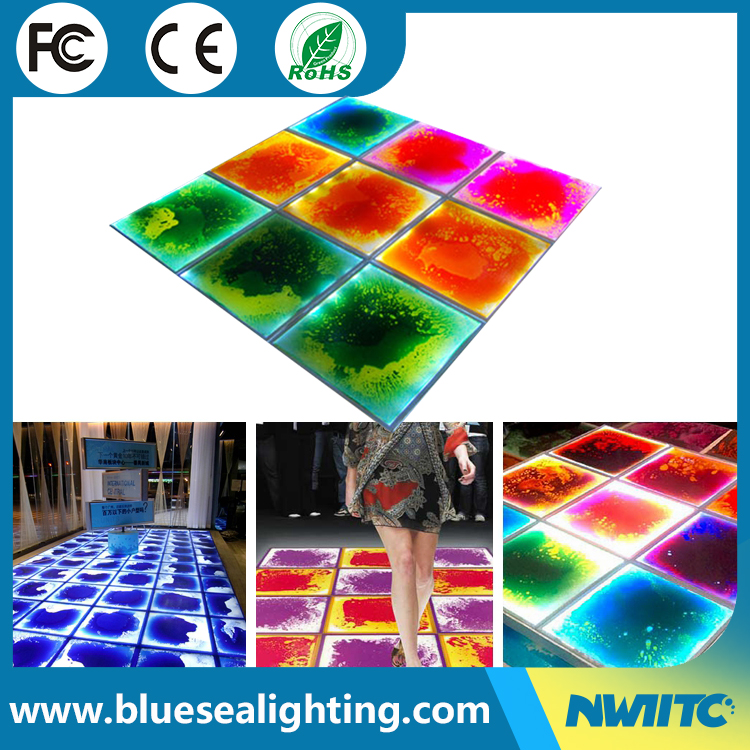 Led rgb liquid make lighted thoughened glass dance floor