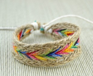 Diy Hemp Cord Bracelets Jewelry Hand Woven With Beads Braided Friendship