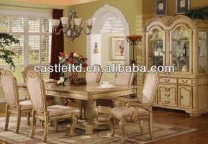 Unique Original Luxury white Carved Dining Set with Buffet and Hutch & High End Pedstal Dining Table Set
