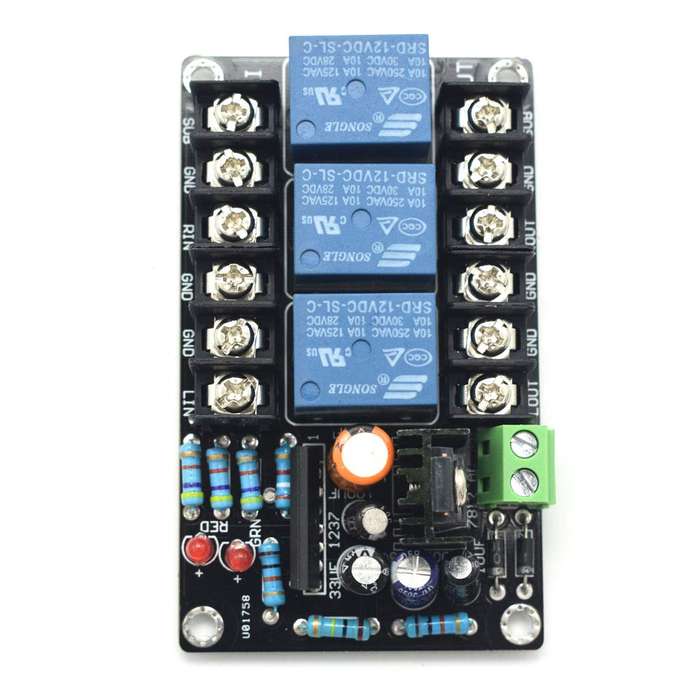 High Power Speaker Protect Relay Board 2.1 Channel Speaker DC Protector Module Delay-on Panel AC 12V-15V with LED Indicators