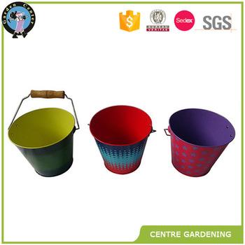 Cheap Galvanized Decorative Metal Garden Vase Buckets