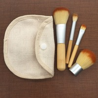 Portable 4pcs bamboo handle makeup brush sets with gunny bag