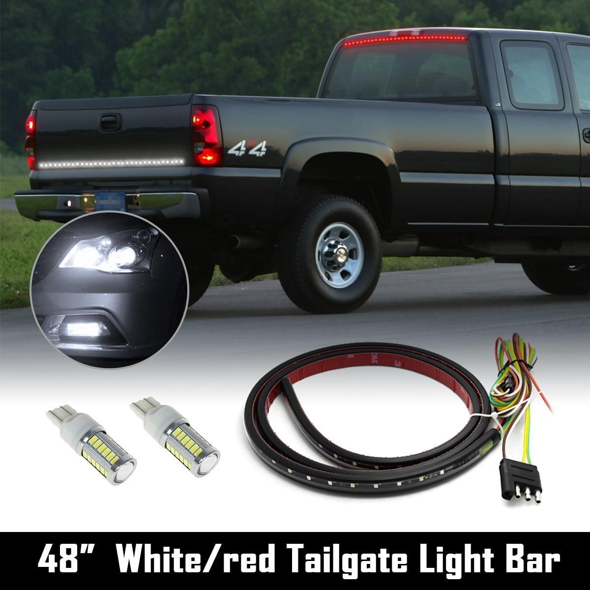 "Partsam 48"" Tail/Brake/Signal LED TAILGATE LIGHT BAR STRIP SUV RV+7443 White LED Reverse"