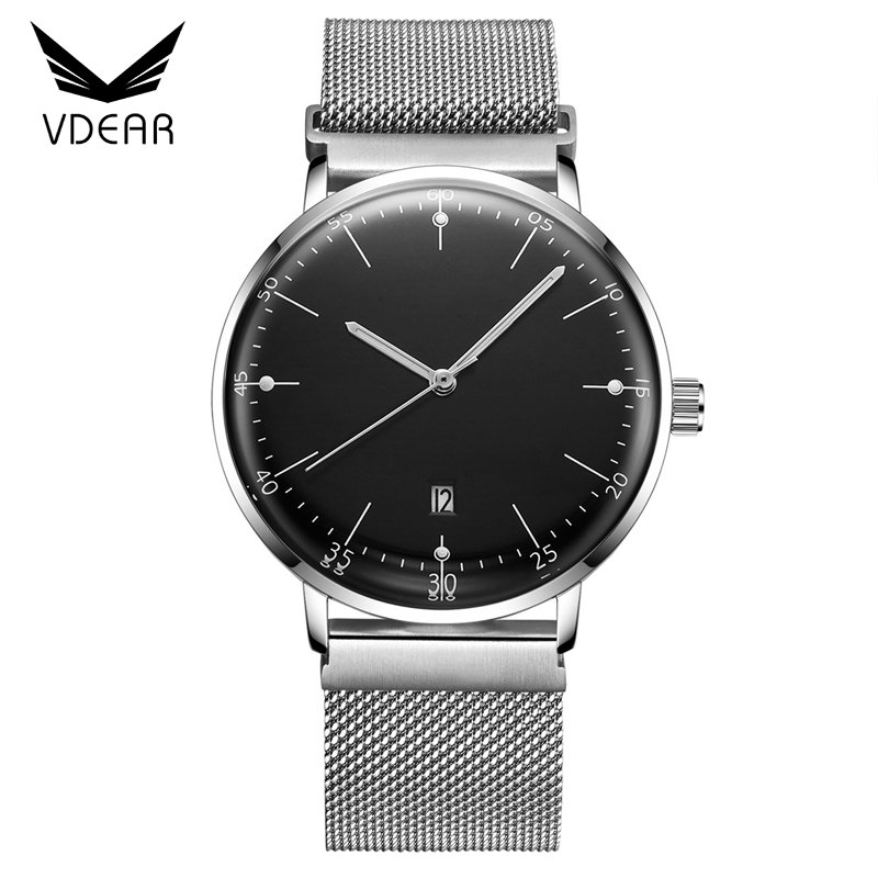 Low moq minimal brand your logo custom men watch quartz stainless steel case back watch with mesh strap