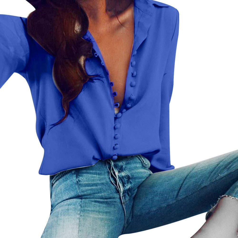 6291d28587a124 Get Quotations · Women Casual Button Down Shirts V Neck Solid Color Long  Sleeve Loose Button Up T Shirts