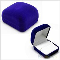 High quality Flocking Jewellery Box Blue Color Packaging Velvet Box for Ring